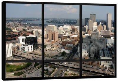 New Orleans City Skyline Window View Canvas Art Print