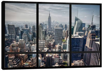 New York City Skyline Window View Canvas Print #WOW25