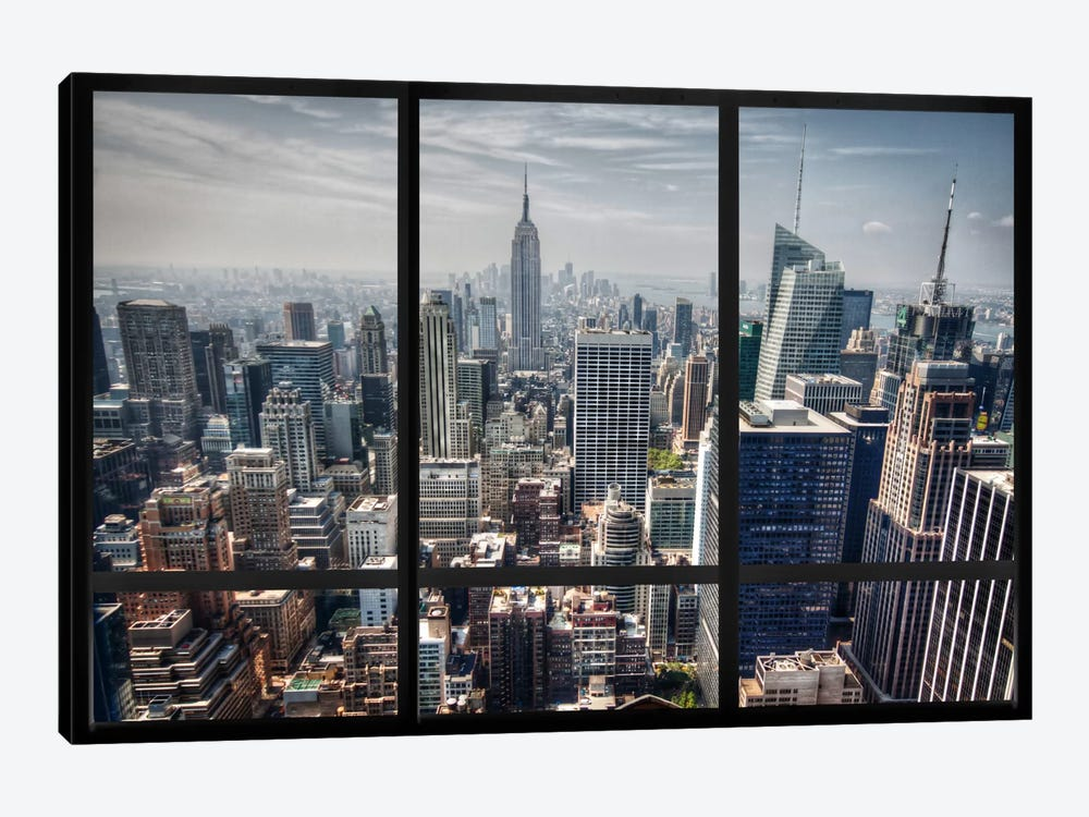 Multi Piece Canvas Wall Art new york city skyline window view art printicanvas | icanvas