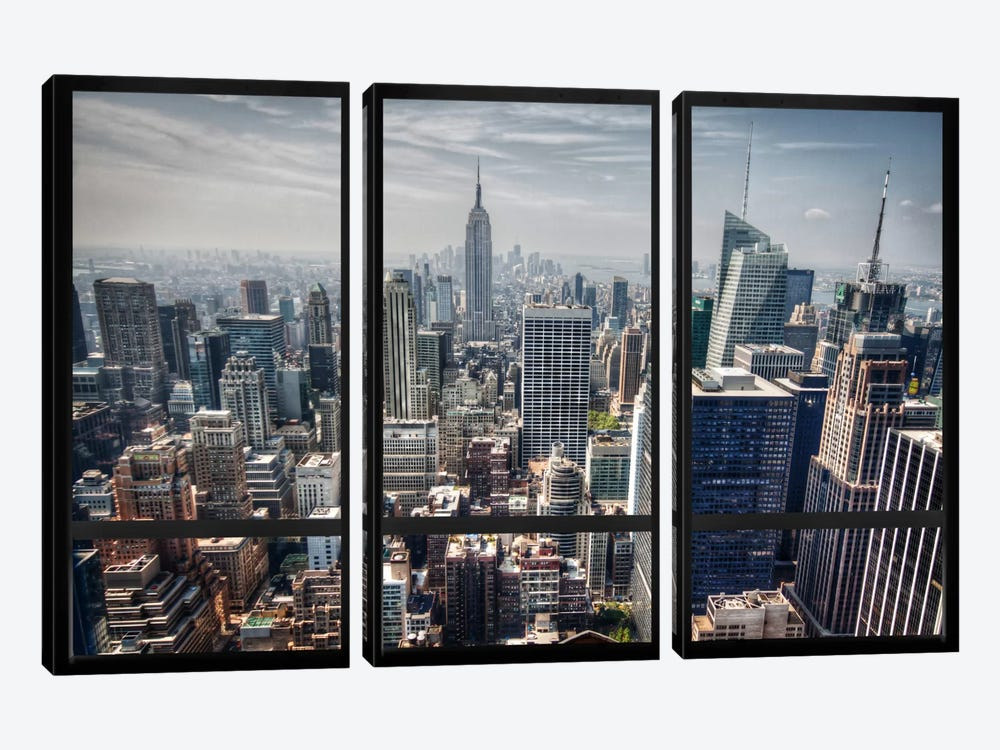 New York City Skyline Window View by Unknown Artist 3-piece Canvas Artwork