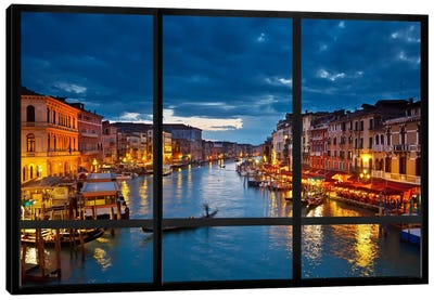 Venice City Skyline Window View Canvas Art Print