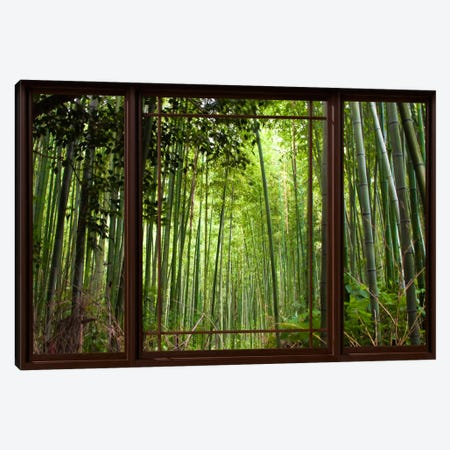 Bamboo Forest Window View Canvas Print #WOW43} by iCanvas Canvas Art
