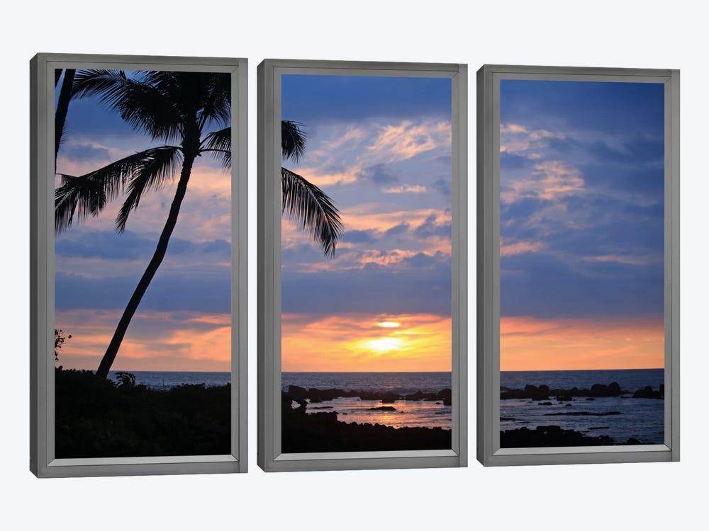 Beach Sunset Window View by Unknown Artist 3-piece Canvas Art Print