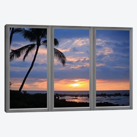 Beach Sunset Window View Canvas Print #WOW44} by Unknown Artist Canvas Art Print