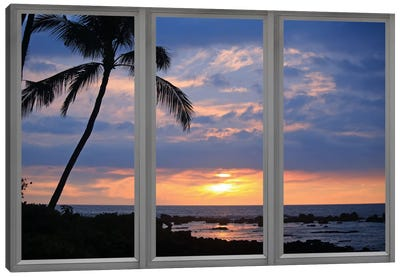 Beach Sunset Window View Canvas Print #WOW44