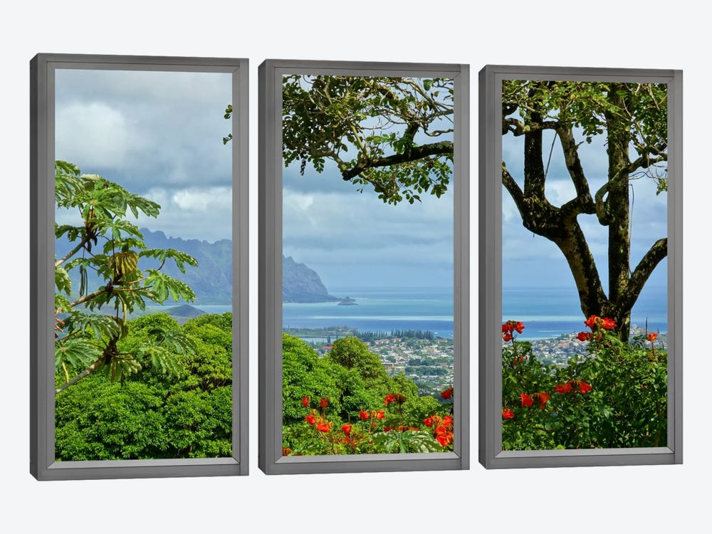 Hawaii Window View by iCanvas 3-piece Canvas Wall Art