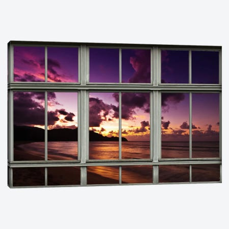 Hawaiian Beach Sunset Window View Canvas Print #WOW52} by Unknown Artist Art Print