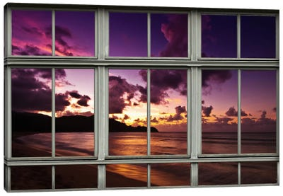 Hawaiian Beach Sunset Window View Canvas Art Print