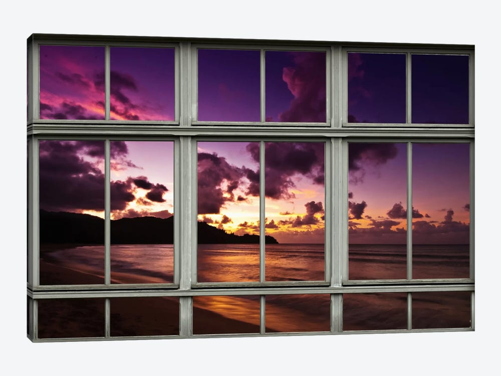 Hawaiian Beach Sunset Window View by Unknown Artist 1-piece Canvas Art