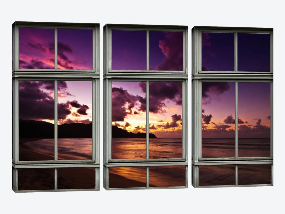 Hawaiian Beach Sunset Window View 3-piece Canvas Artwork
