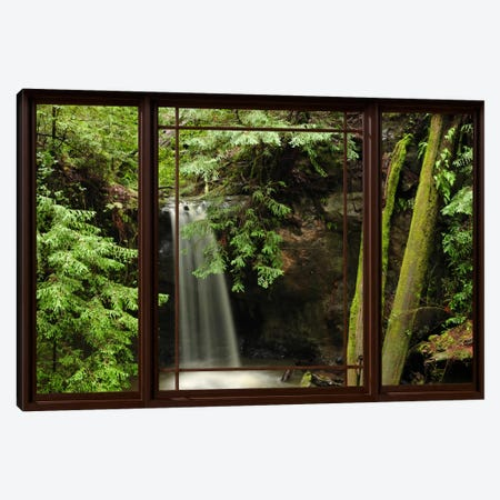 Waterfall Forest Window View Canvas Print #WOW67} by Unknown Artist Canvas Art Print