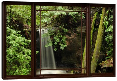 Waterfall Forest Window View Canvas Print #WOW67