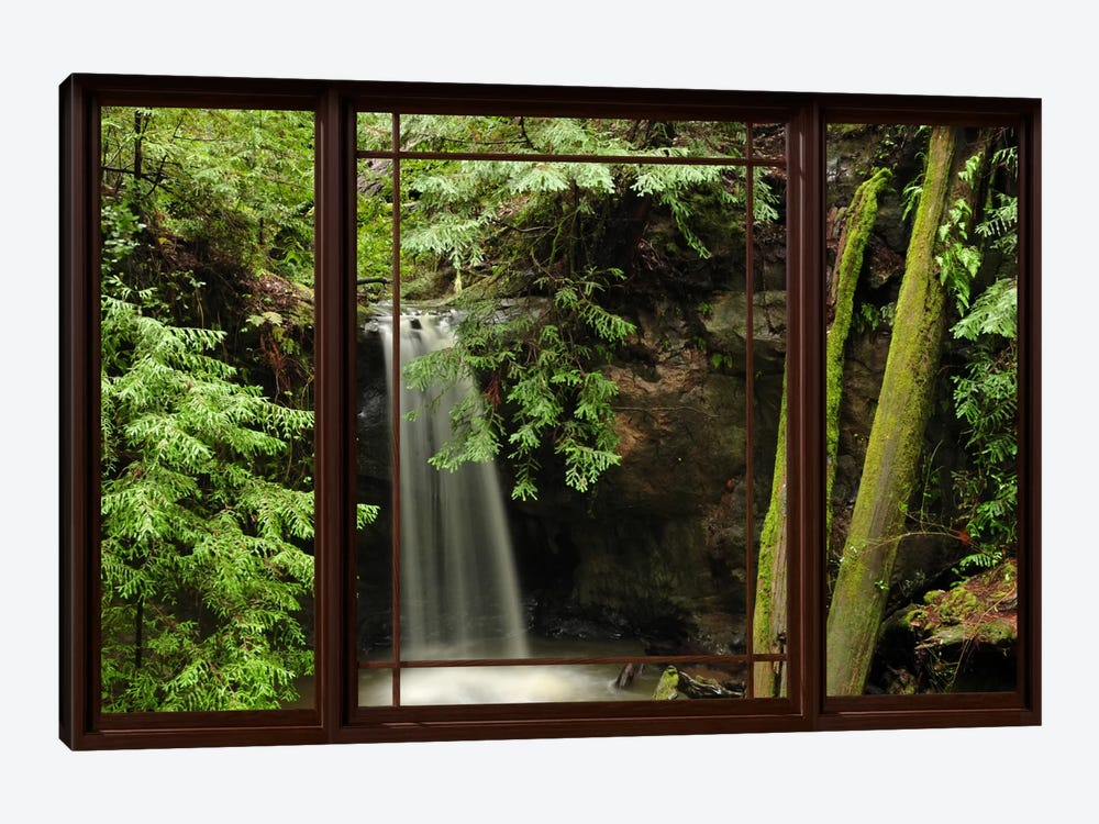 Waterfall Forest Window View 1-piece Canvas Wall Art