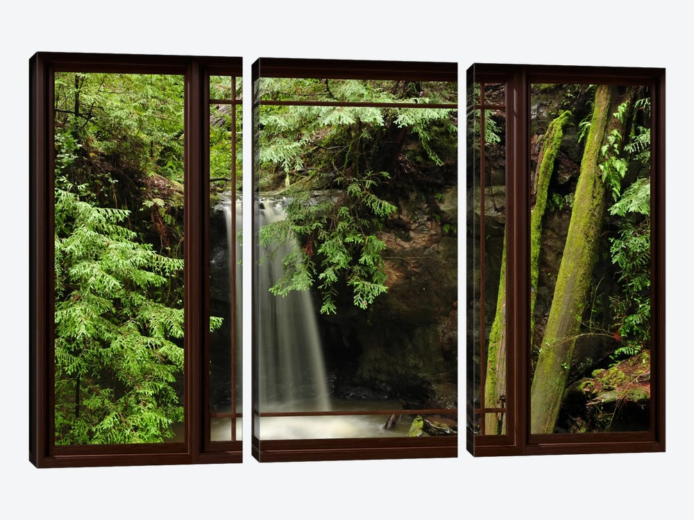 Waterfall Forest Window View 3-piece Canvas Wall Art