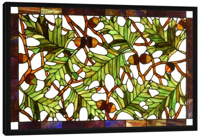 Acorn and Oak Leaves Stained Glass Window Canvas Print #WOW73