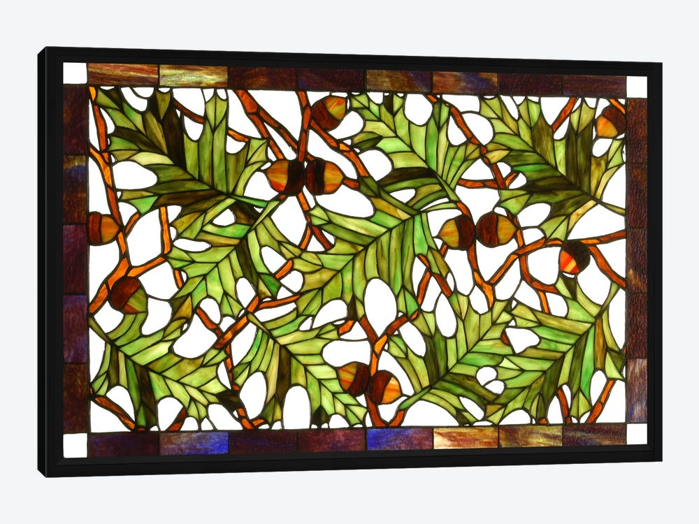 Acorn and Oak Leaves Stained Glass Window by Unknown Artist 1-piece Art Print