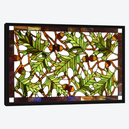Acorn and Oak Leaves Stained Glass Window Canvas Print #WOW73} by Unknown Artist Art Print