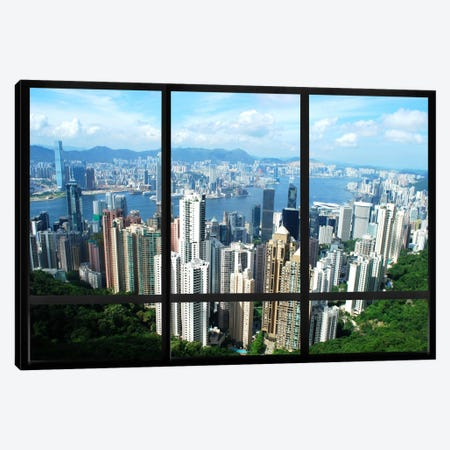 Hong Kong City Skyline Window View Canvas Print #WOW7} by Unknown Artist Art Print