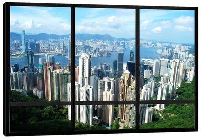 Hong Kong City Skyline Window View Canvas Print #WOW7
