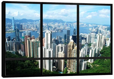 Hong Kong City Skyline Window View Canvas Art Print