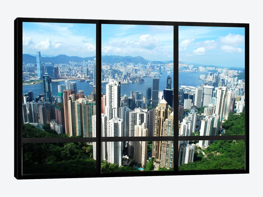 Hong Kong City Skyline Window View by iCanvas 1-piece Canvas Art Print