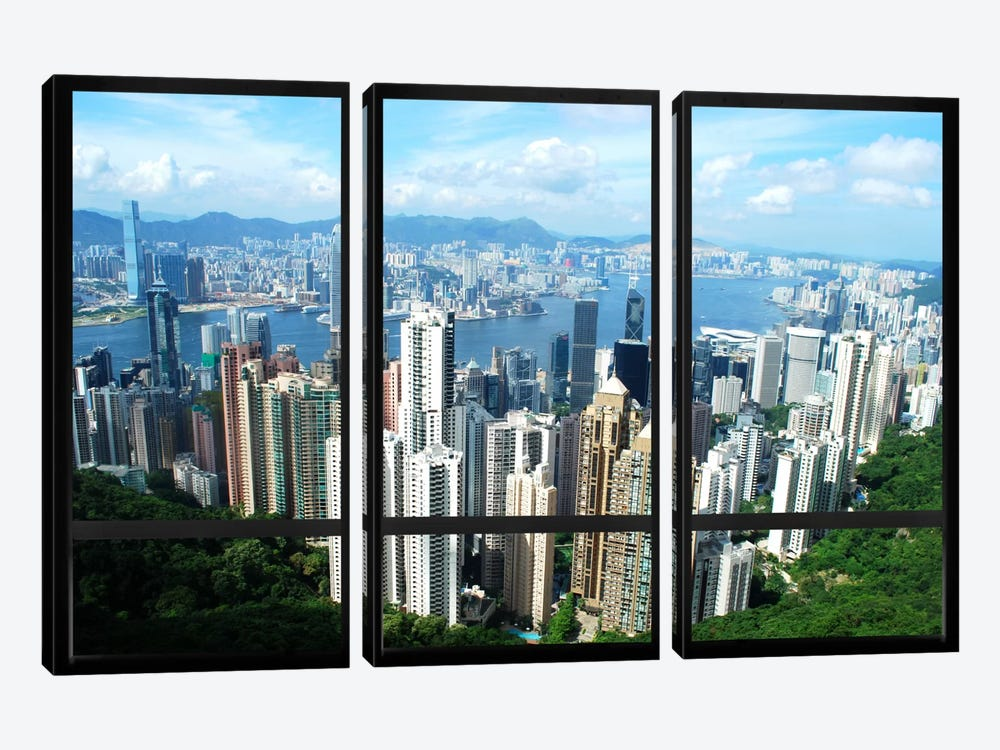 Hong Kong City Skyline Window View by iCanvas 3-piece Art Print