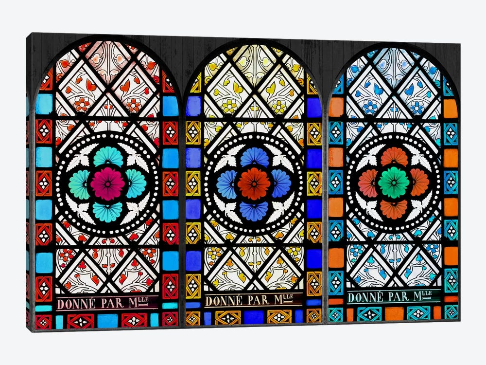 Flowers Patterns Stained Glass Window by Unknown Artist 1-piece Canvas Art Print