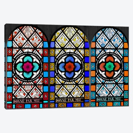 Flowers Patterns Stained Glass Window Canvas Print #WOW80} by iCanvas Canvas Wall Art