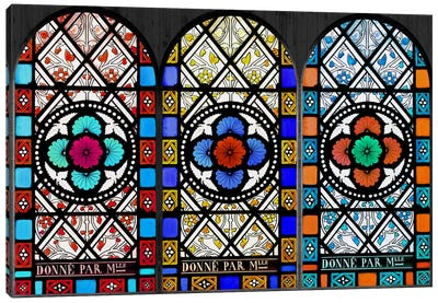 Flowers Patterns Stained Glass Window Canvas Print #WOW80