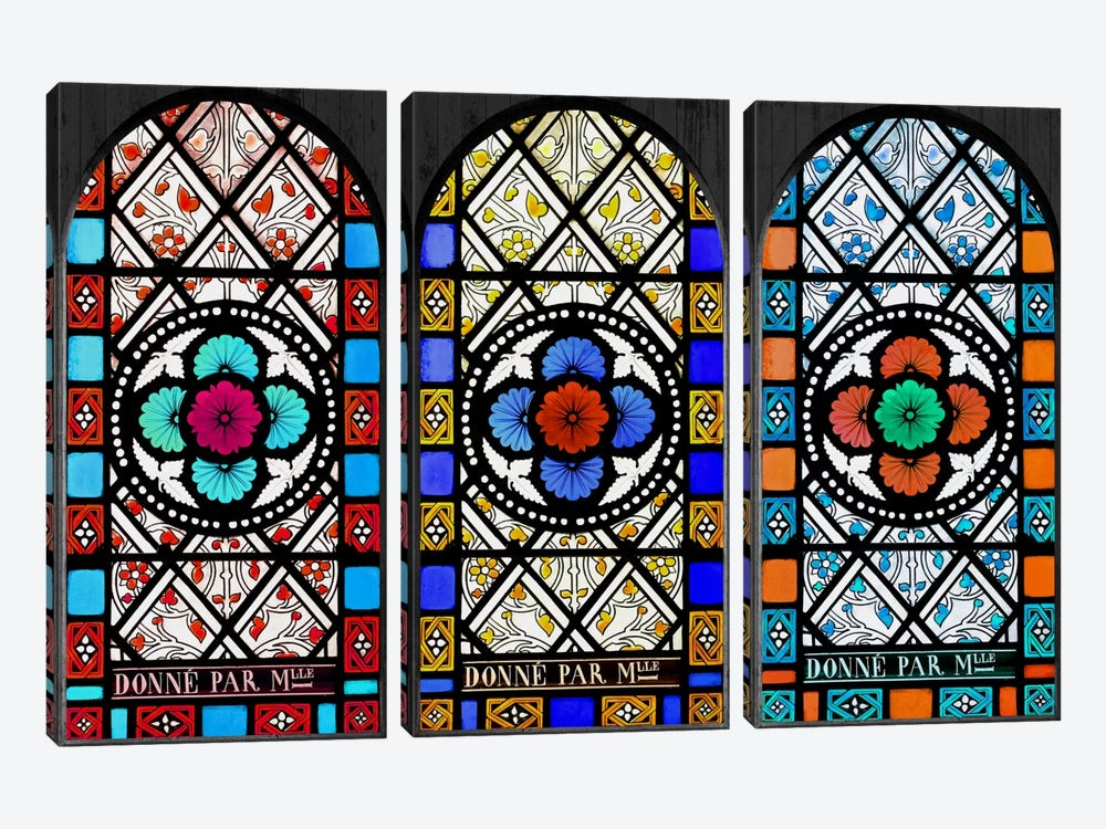 Flowers Patterns Stained Glass Window by iCanvas 3-piece Art Print
