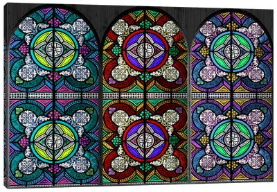 Flowers Patterns Stained Glass Window #5 Canvas Print #WOW84