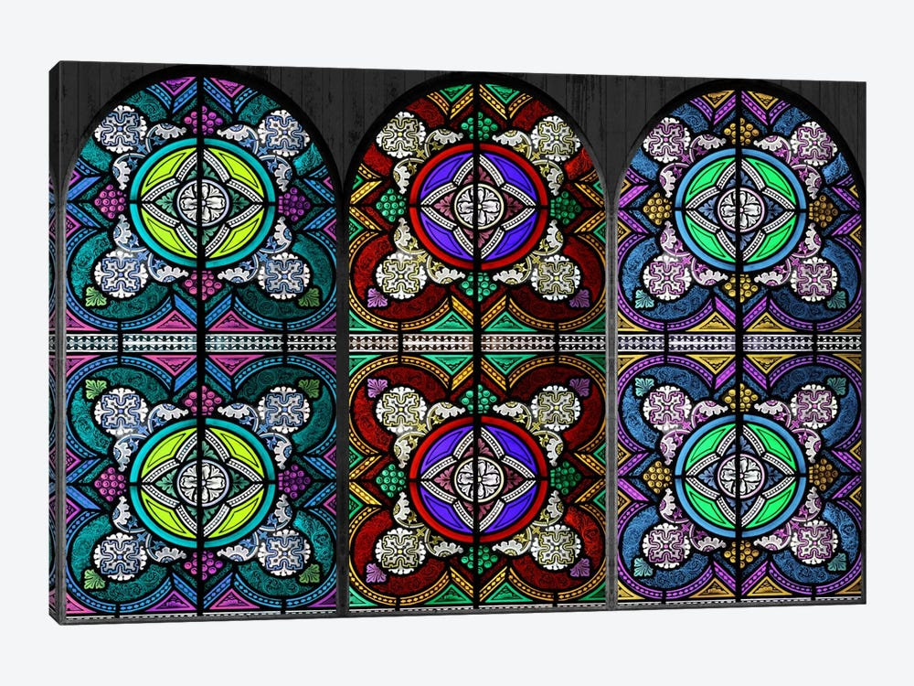 Flowers Patterns Stained Glass Window #5 by Unknown Artist 1-piece Canvas Print