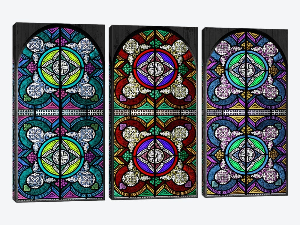 Flowers Patterns Stained Glass Window #5 by iCanvas 3-piece Canvas Print