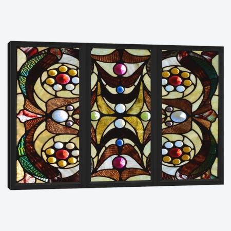 Geometric Deco Stained Glass Window Canvas Print #WOW87} by Unknown Artist Art Print