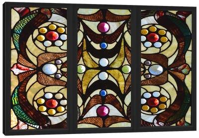 Geometric Deco Stained Glass Window Canvas Print #WOW87