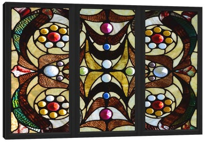 Geometric Deco Stained Glass Window Canvas Art Print