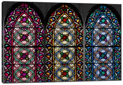 Geometric Flower Patterns Stained Glass Window Canvas Print #WOW88