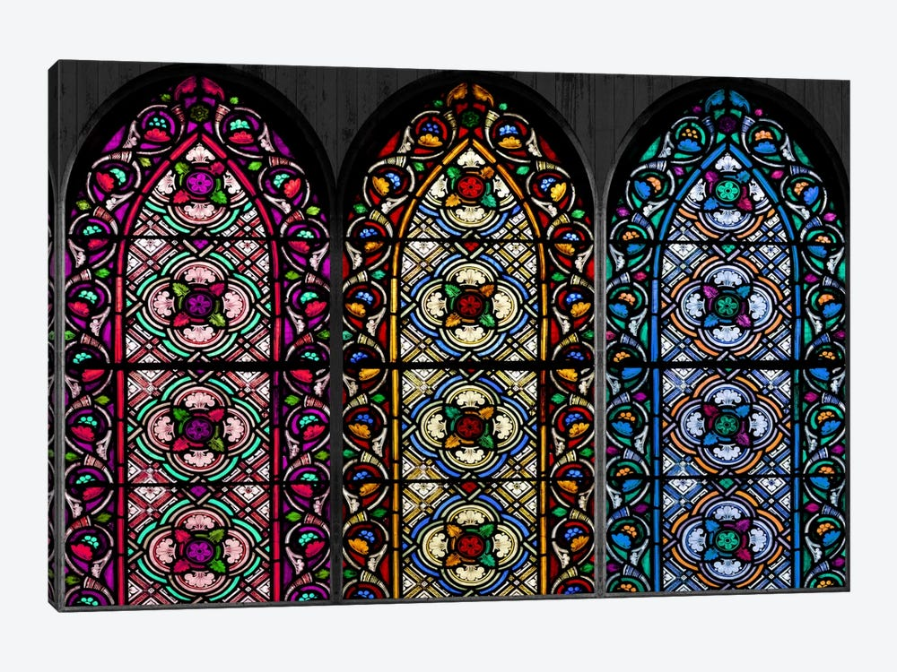 Geometric Flower Patterns Stained Glass Window by iCanvas 1-piece Canvas Print