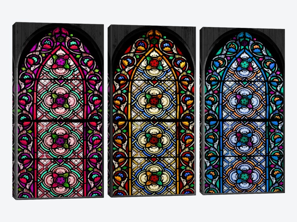 Geometric Flower Patterns Stained Glass Window by iCanvas 3-piece Canvas Art Print