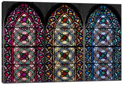 Geometric Flower Patterns Stained Glass Window Canvas Art Print