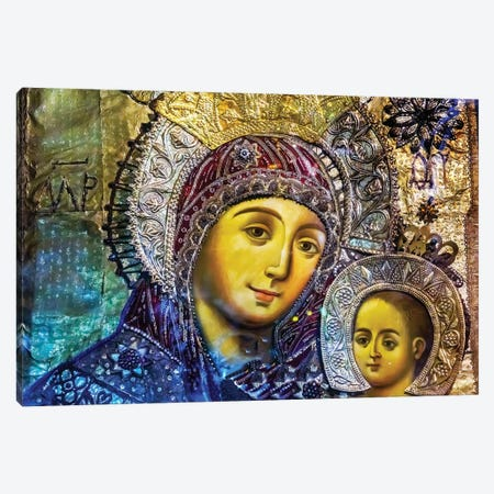 Mary and Jesus Icon, Greek Orthodox Church of the Nativity Altar Nave, Bethlehem, Palestine Canvas Print #WPE11} by William Perry Canvas Artwork
