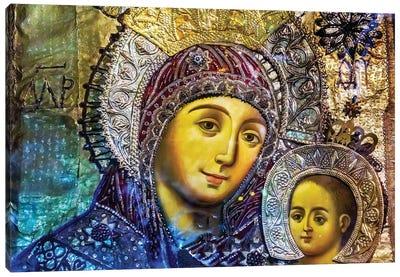 Mary and Jesus Icon, Greek Orthodox Church of the Nativity Altar Nave, Bethlehem, Palestine Canvas Art Print