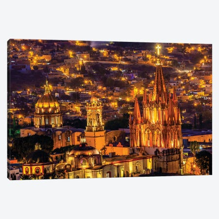 San Miguel de Allende, Mexico, Miramar Overlook Night, Parroquia Archangel Church 3-Piece Canvas #WPE12} by William Perry Canvas Art