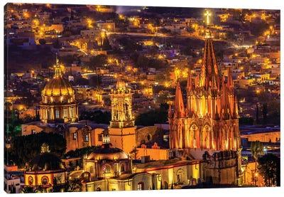 San Miguel de Allende, Mexico, Miramar Overlook Night, Parroquia Archangel Church Canvas Art Print