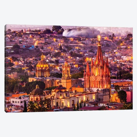 San Miguel de Allende, Mexico, Miramar, Overlook, Parroquia Archangel Church Canvas Print #WPE13} by William Perry Canvas Artwork