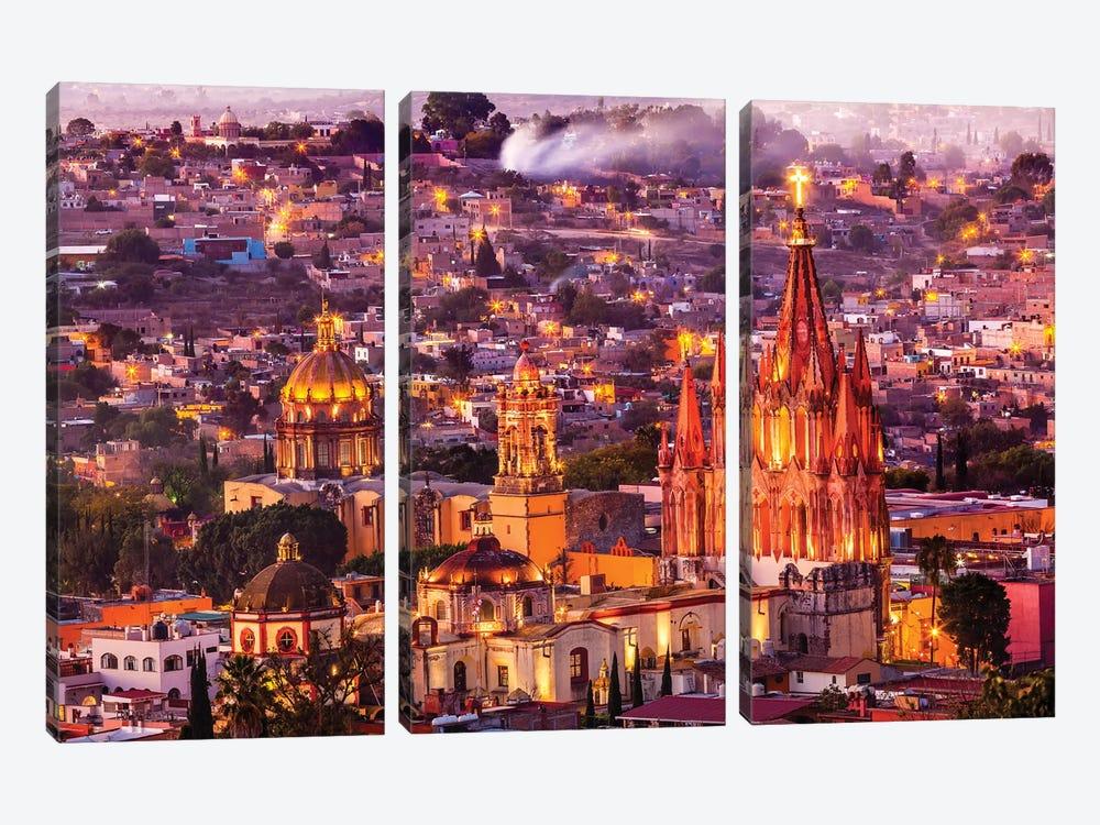 San Miguel de Allende, Mexico, Miramar, Overlook, Parroquia Archangel Church by William Perry 3-piece Canvas Art