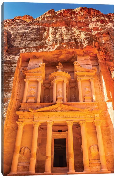 Treasury built by the Nabataens, Siq, Petra, Jordan.  Canvas Art Print