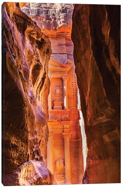 Yellow canyon and the Treasury in the Morning. Petra, Jordan Canvas Art Print