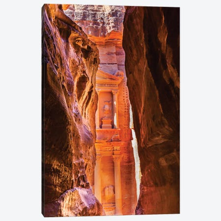 Yellow canyon and the Treasury in the Morning. Petra, Jordan Canvas Print #WPE16} by William Perry Canvas Art Print