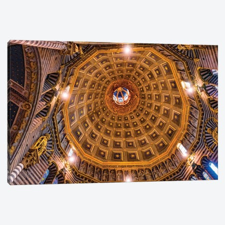 Basilica Golden Dome Cathedral, Siena, Italy. Cathedral Completed From 1215 To 1263. Canvas Print #WPE24} by William Perry Canvas Art